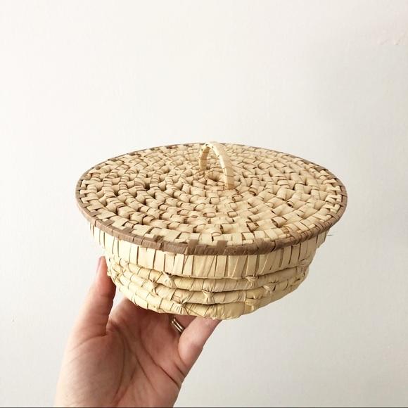 Vintage Coiled Basket With Lid Boho Decor